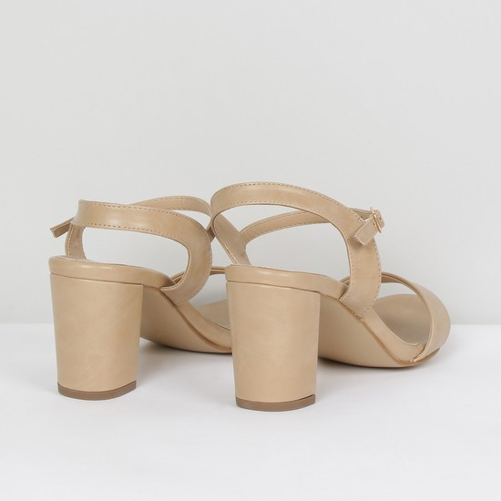 MAX Solid Ankle-Strap Block Heel Sandals