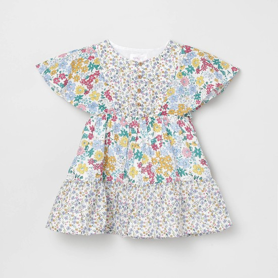 MAX Floral Print A-line Dress with Cape Layer