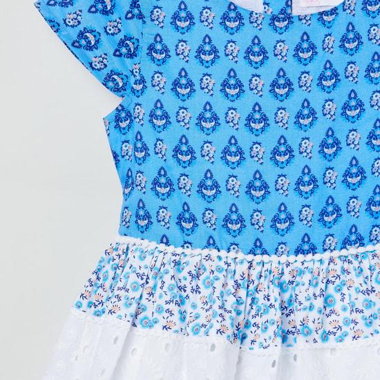 MAX Printed Cap Sleeves A-line Dress
