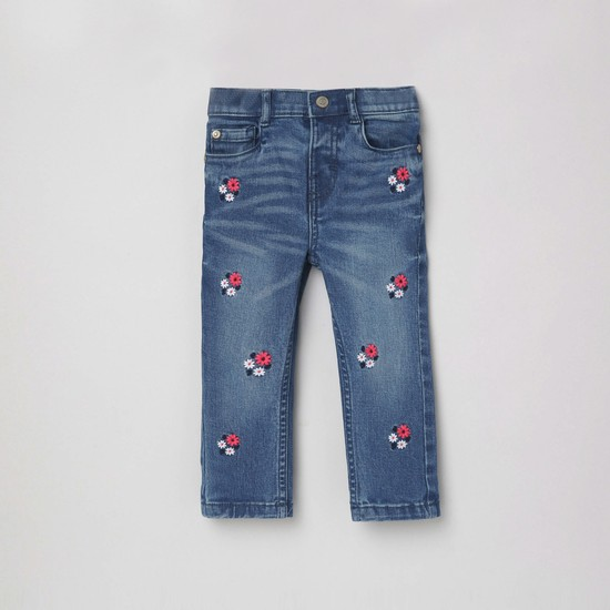 MAX Stonewashed Slim Fit Embroidered Jeans