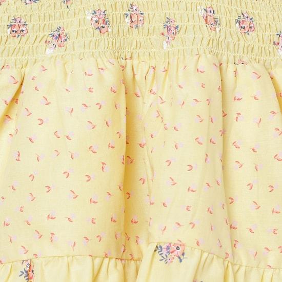 MAX Printed Smocked A-Line Dress