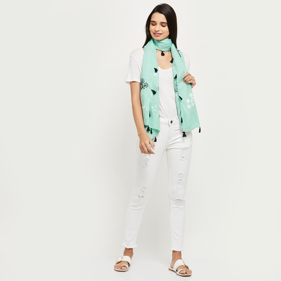 MAX Embroidered Tassel-Trimmed Stole