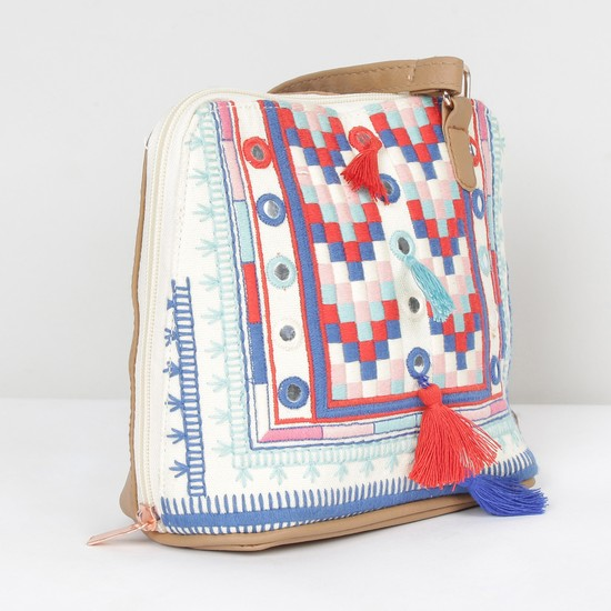 MAX Embroidered Zip-Closure Sling Bag