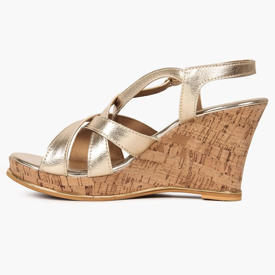 INC.5 Metallic Strap Wedge Heels