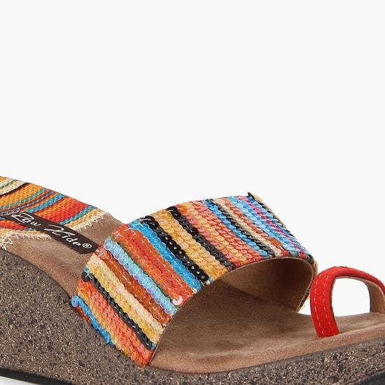 RAW HIDE Sequinned Strap Toe-Ring Heels