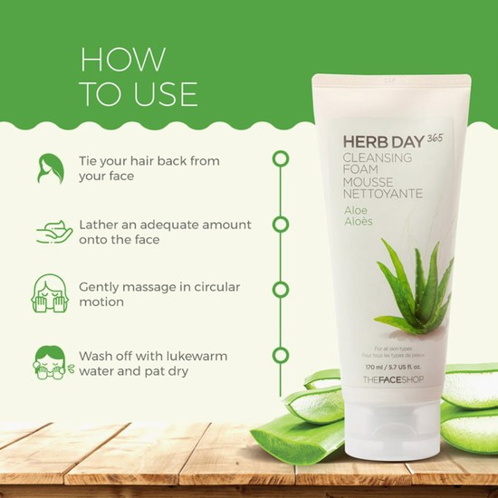 THE FACE SHOP Herbday 365 Aloe Cleansing Foam