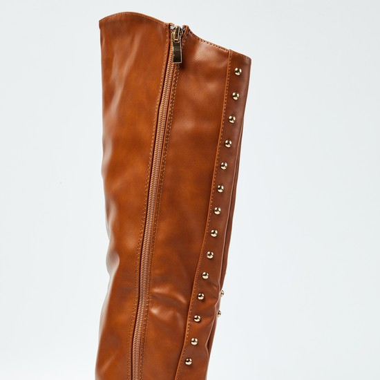 GINGER Studded Thigh-High Boots