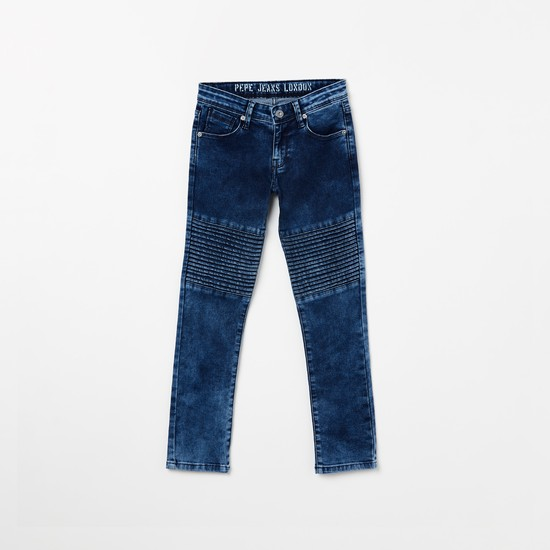 PEPE JEANS Panelled Low Rise Slim Fit Jeans