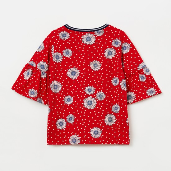 U.S. POLO ASSN. KIDS Bell Sleeves Floral Print Top
