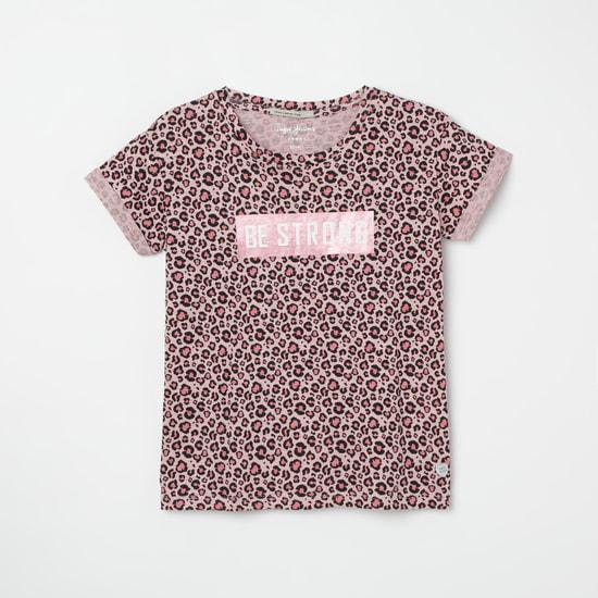 PEPE JEANS Animal Print T-shirt with Upturned Hem