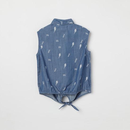 PEPE JEANS Printed Denim Shirt with Tie-Up Hem