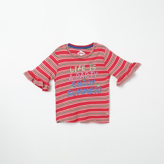 LEE COOPER JUNIORS Typographic Print Striped Top with Bell Sleeves