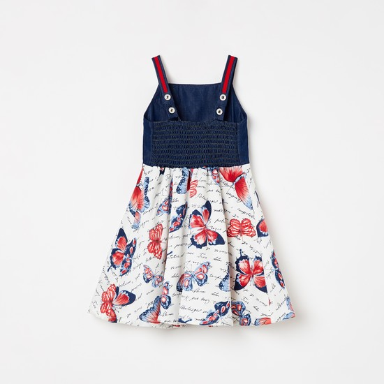 PEPPERMINT Butterfly Print Sleeveless Fit & Flare Dress