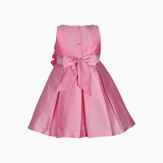 A LITTLE FABLE Girls Sleeveless Fit & Flare Dress with Rosette