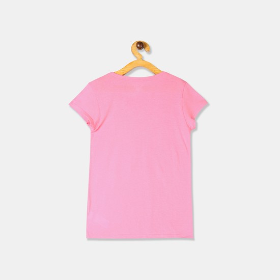 THE CHILDREN'S PLACE Girls Cap Sleeves T-shirt with Chest Print