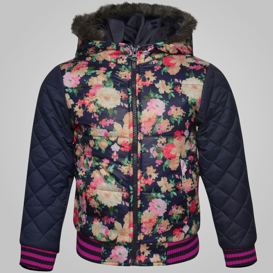 MAX Floral Print Hooded Jacket