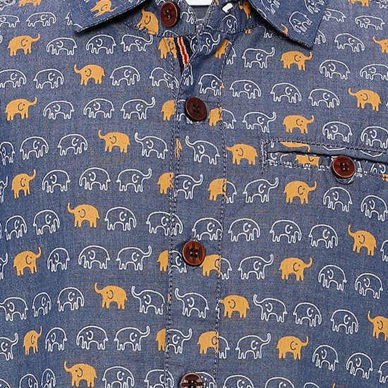 MAX Elephant Print Half Sleeves Shirt