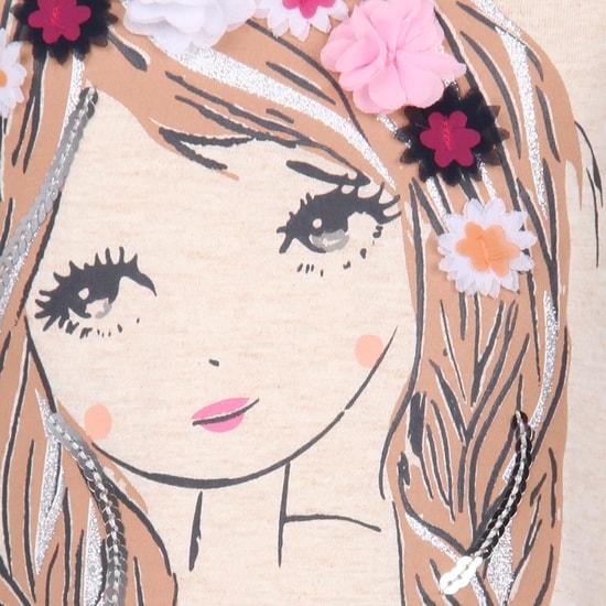 MAX Cute Girl Floral Applique Top