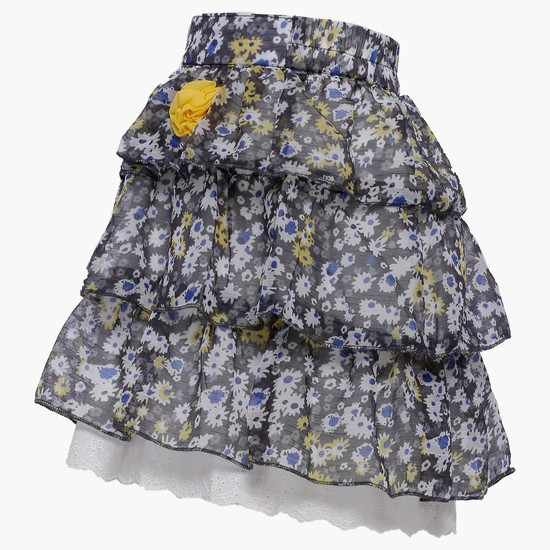MAX Floral Print Tiered Skirt