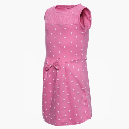 MAX Sleeveless Polka Dot Dress