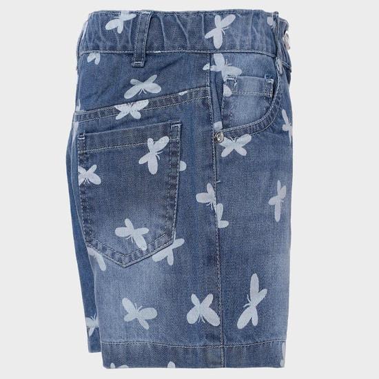 MAX Butterfly Print Denim Shorts