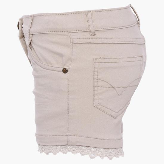 MAX Denim Lace Trim Shorts