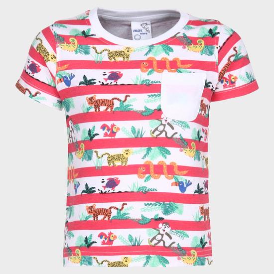 MAX Striped Zoo Crew Neck T-Shirt