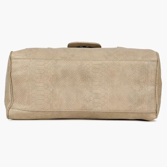 MAX Snake Skin Pattern Zipper Detail Handbag