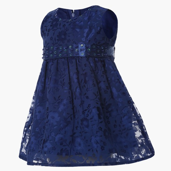 MAX Embossed Sleeveless Flounce Dress