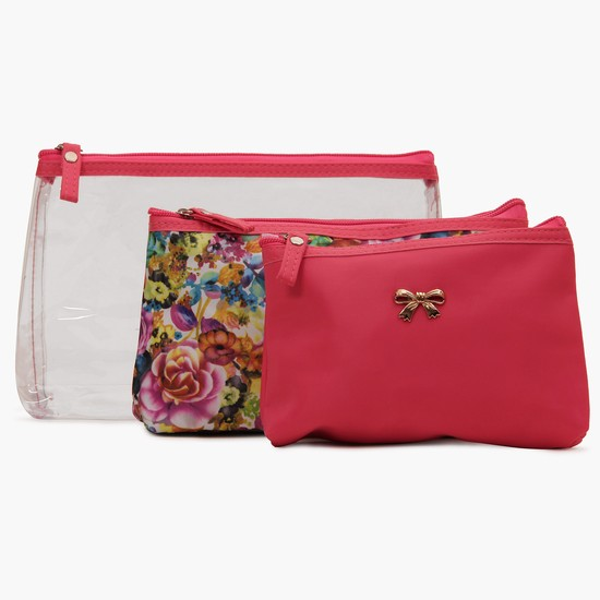 MAX Floral Bling Cosmetic Pouch Set