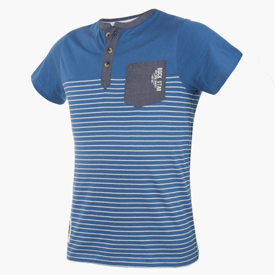 MAX Henley Collar Striped T-Shirt