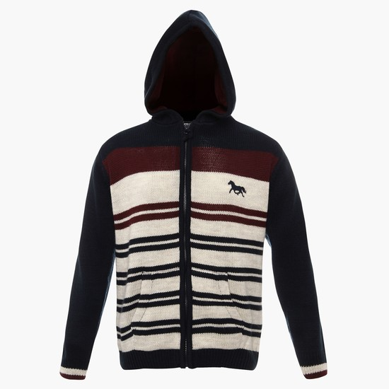 MAX Striped Hooded Cardigan