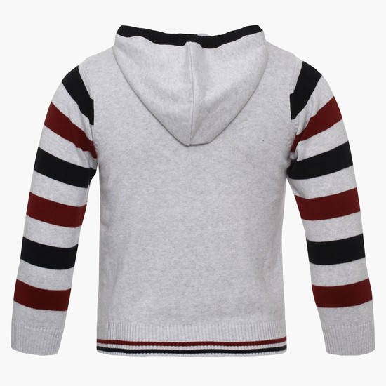 MAX Striped Sleeves Hooded Sweater