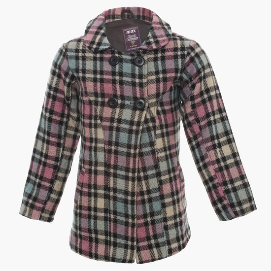 MAX Checked Collared Overcoat