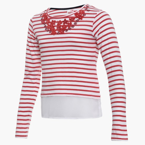 MAX Striped Floral Applique Top