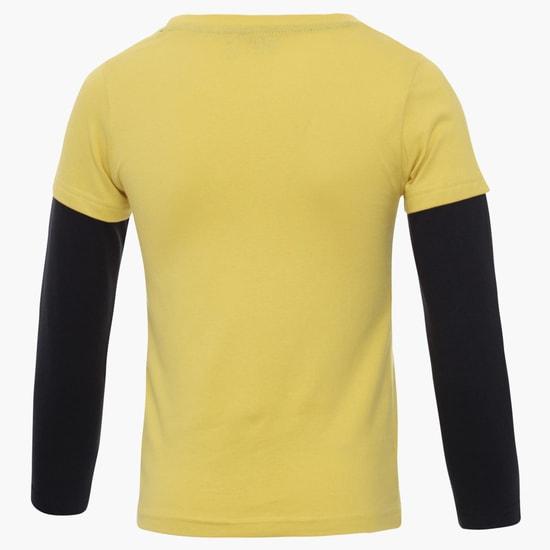 MAX Vintage Print Layered Sleeves T-Shirt