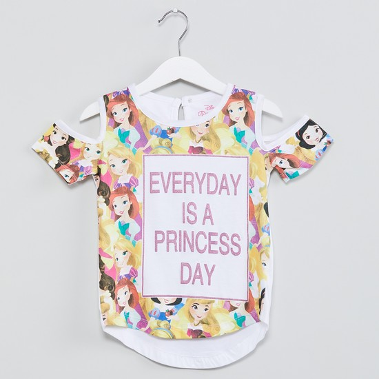 MAX Princess Print Cold-Shoulder Top