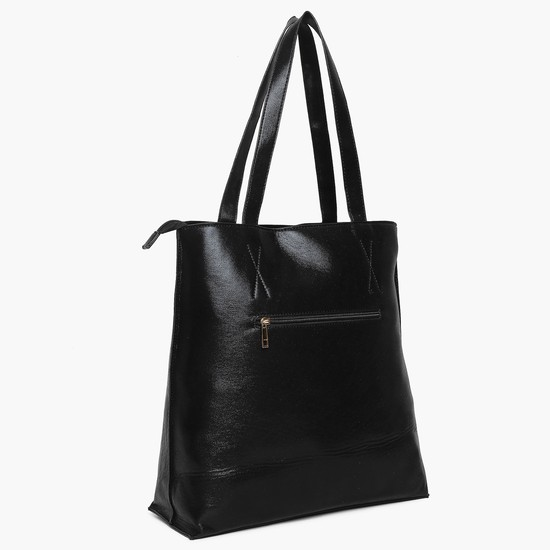 MAX Embroidered Sequin Detail Zip Closure Tote Bag