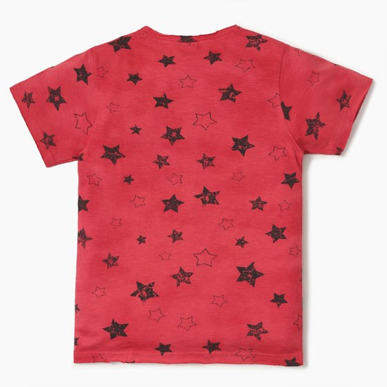 MAX All-Over Star Print Patch Pocket Crew Neck T-Shirt