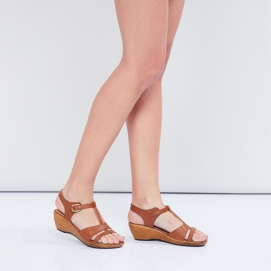 MAX Buckle Closure Strappy Wedges