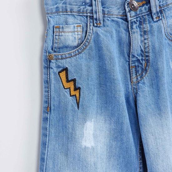 MAX Appliqued Stonewashed Denim Shorts