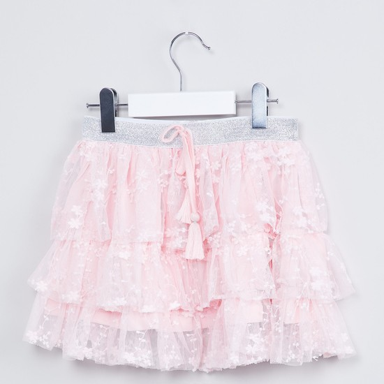MAX Floral Embroidered Tiered Tulle Skirt