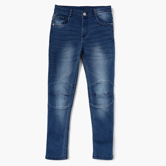MAX Stonewashed Panel-Detailed Low Rise Slim Fit Jeans