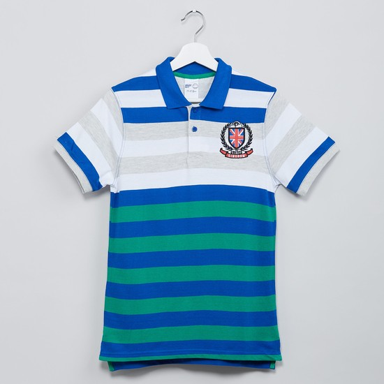 MAX Striped Pique Knit Polo T-shirt