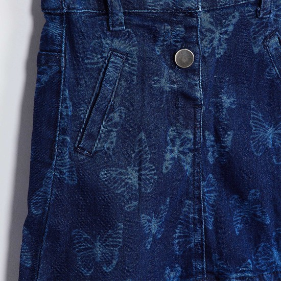 MAX Butterfly Print Denim Skirt