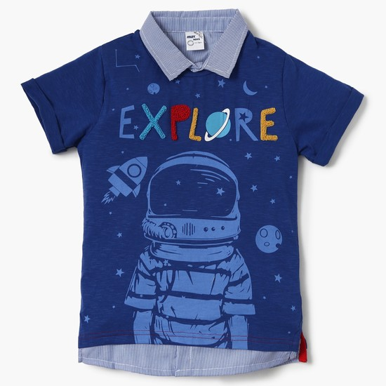MAX Explore Graphic Print Collared T-Shirt