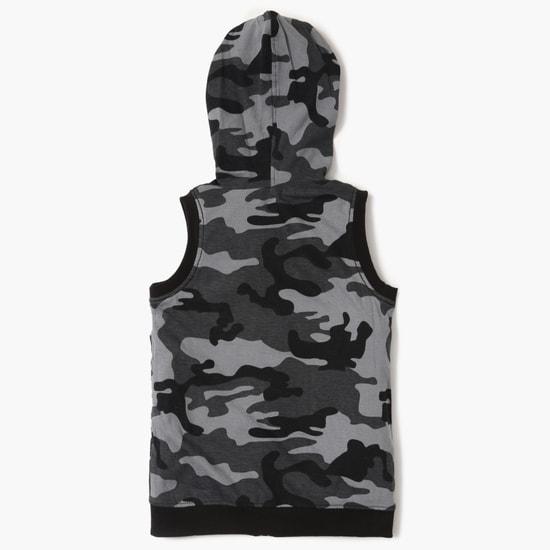 MAX Camouflage Print Sleeveless Hoodie