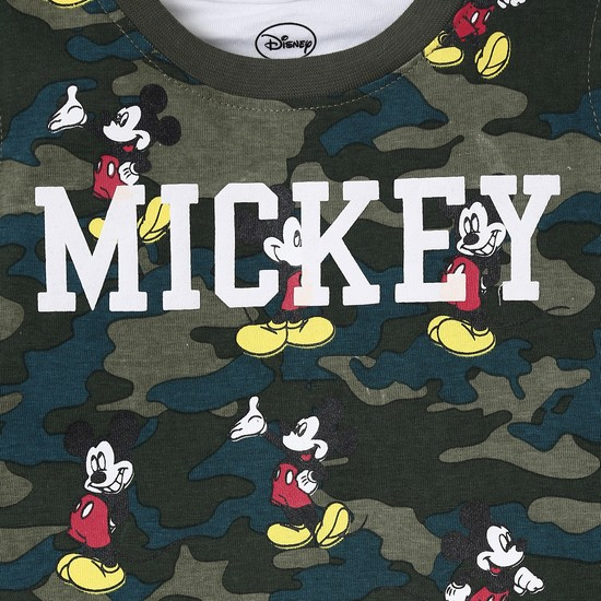 Max Mickey Mouse Print Camouflage Twofer T Shirt