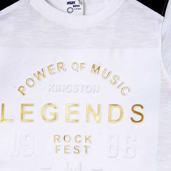 MAX Music Typography Print Step Hem T-shirt