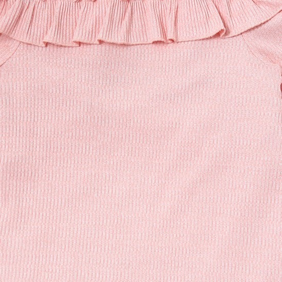MAX Textured-Knit Ruffled Top